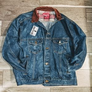 Vtg Marlboro Denim Distressed Jacket RARE Leather